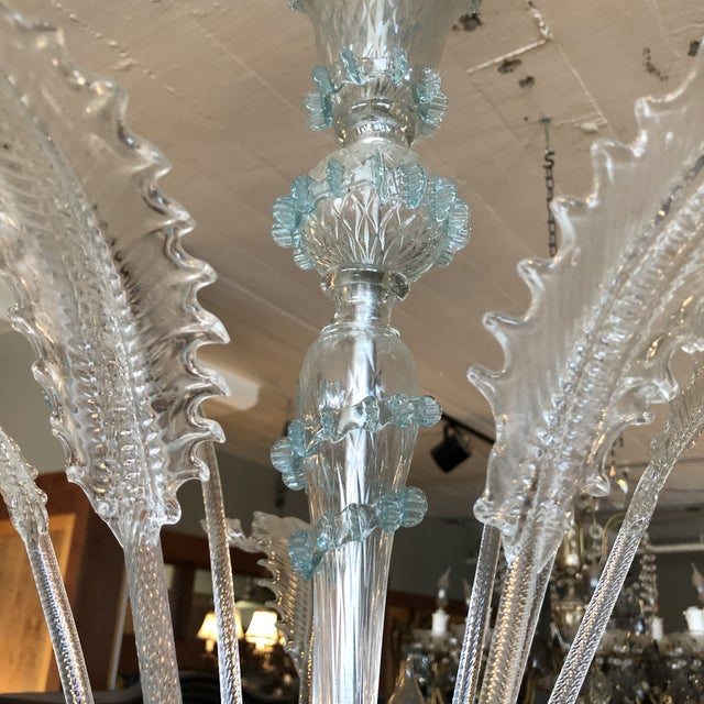 1930s Italian Vintage Art Deco Murano Glass Daffodil and Leaf Chandelier For Sale In Minneapolis - Image 6 of 12
