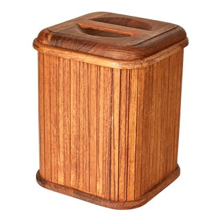 1970s Teak Square Ice Bucket For Sale