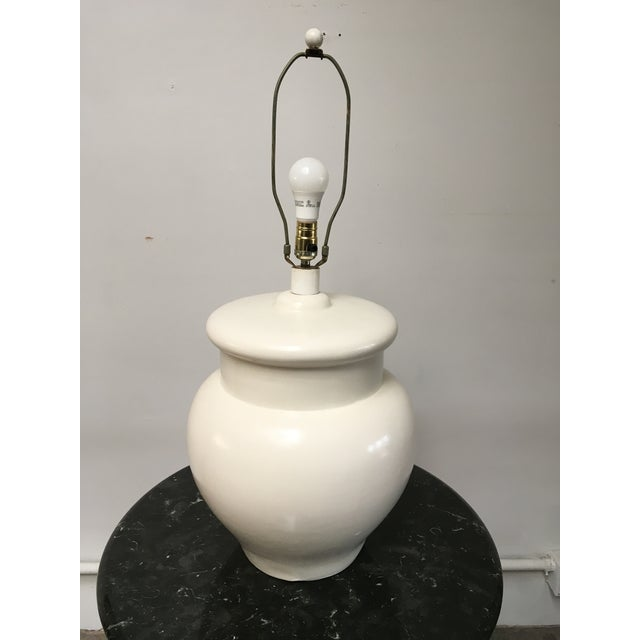 Wood 1960s Vintage White Ceramic Table Lamp For Sale - Image 7 of 11