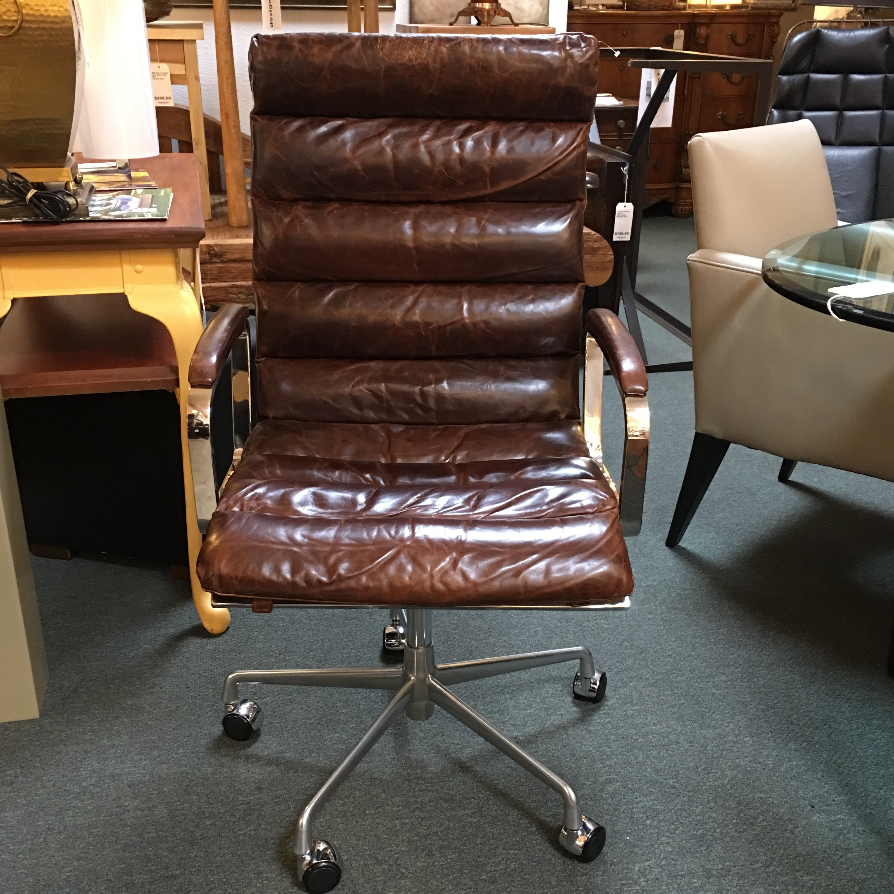 High Quality Restoration Hardware Oviedo Cocoa Leather Office Chair   Image 3 Of 11