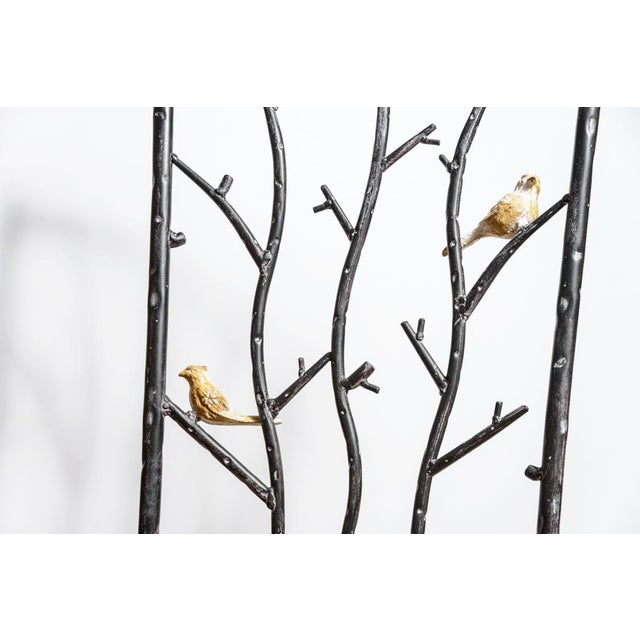 Boho Chic Vintage Faux Bois Wrought Iron Chair With Birds on Branches For Sale - Image 3 of 13