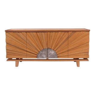 R. Mapache Signed Sunburst Teak Sideboard For Sale