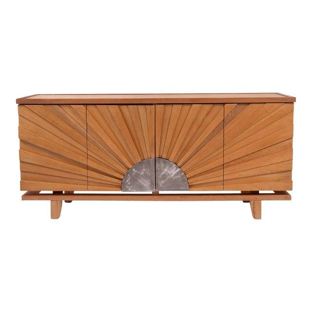 R. Mapache Signed Sunburst Teak Sideboard For Sale