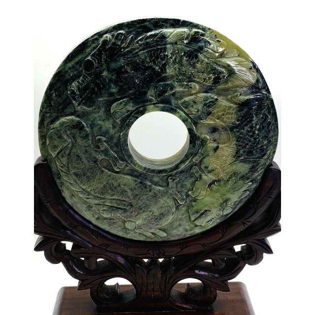 """Chinese Relief-Carved Dragon & Phoenix Jade Bi Disc on Custom Rosewood Stand 10"""" For Sale - Image 4 of 8"""