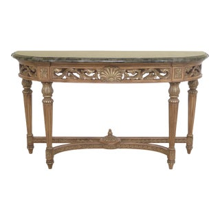 French Louis XVI Style Marble Top Console Table For Sale