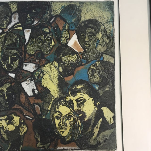 """Lithograph 1970s """"Night People"""" Figurative Etching by Lucile H. Sanders, Framed For Sale - Image 7 of 9"""