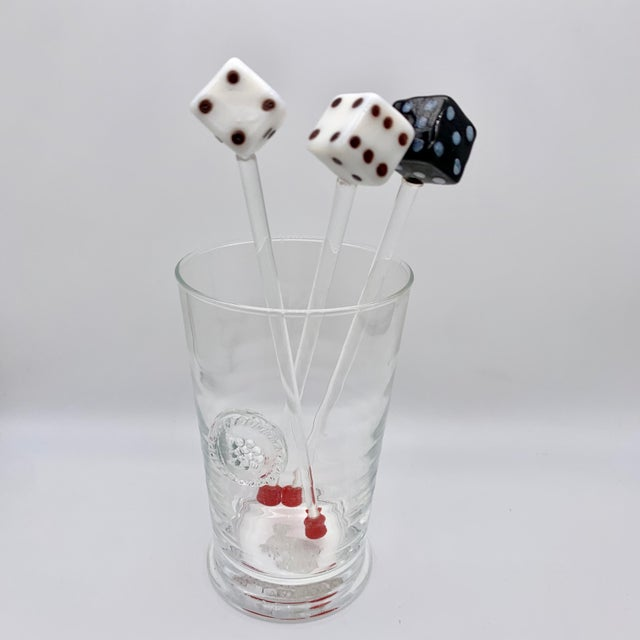 White Vintage Glass Dice Drink Stirrers For Sale - Image 8 of 8