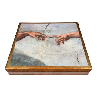 Neiman Marcus Vintage Italian Découpage Florentine Box With Michelangelo's Creation of Adam For Sale