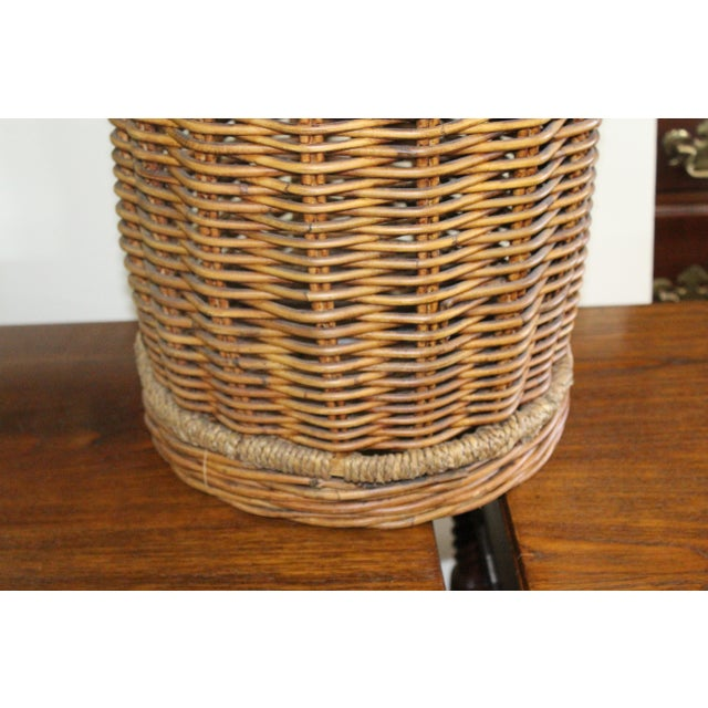 Country 20th Century Country Tall Wicker Basket For Sale - Image 3 of 6