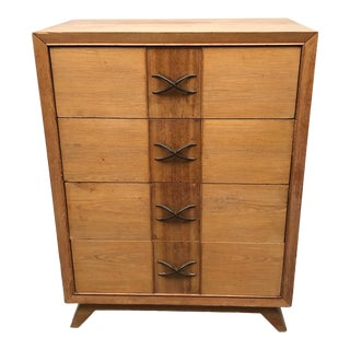 Mid-Century Modern Paul Frankl for Brown Saltman 4 Drawer Combed Oak Chest For Sale