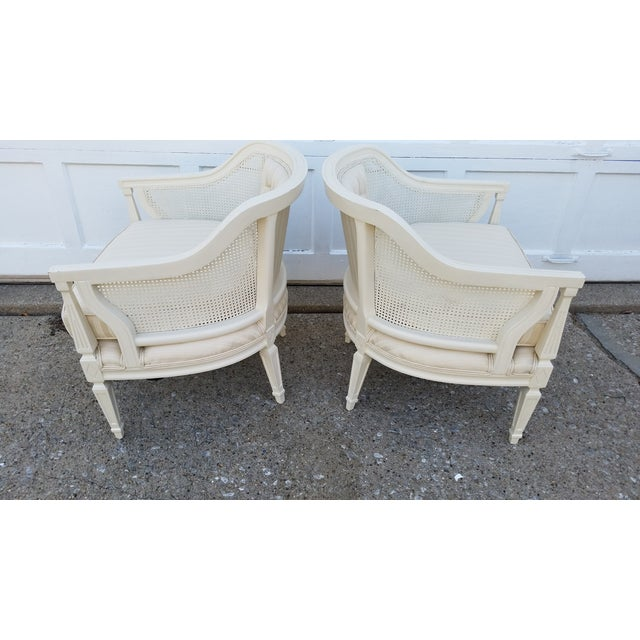Off-White Cane Back Barrel Chairs - A Pair - Image 5 of 7