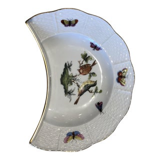 English Traditional Herend Hand Painted Rothchild Bird Porcelain Crescent-Shaped Salad Plate