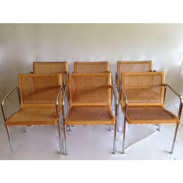 Chrome Dining Chairs with Caning - Set of 6 - Image 2 of 8