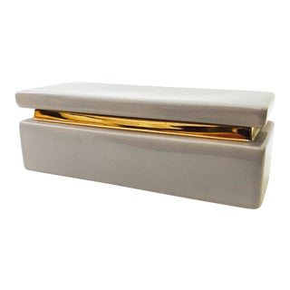 Vintage Gold and Mauve Ceramic Vanity Box For Sale