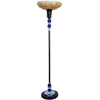 Art Deco Glass Ball Torchiere Floor Lamp For Sale