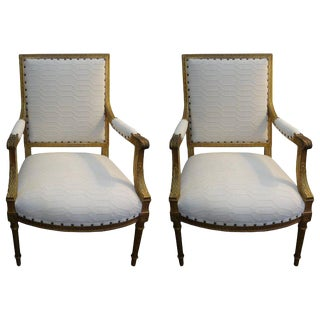 Vintage Mid Century 19th Century French Louis XVI Style Gilt Wood Side Chairs- a Pair For Sale