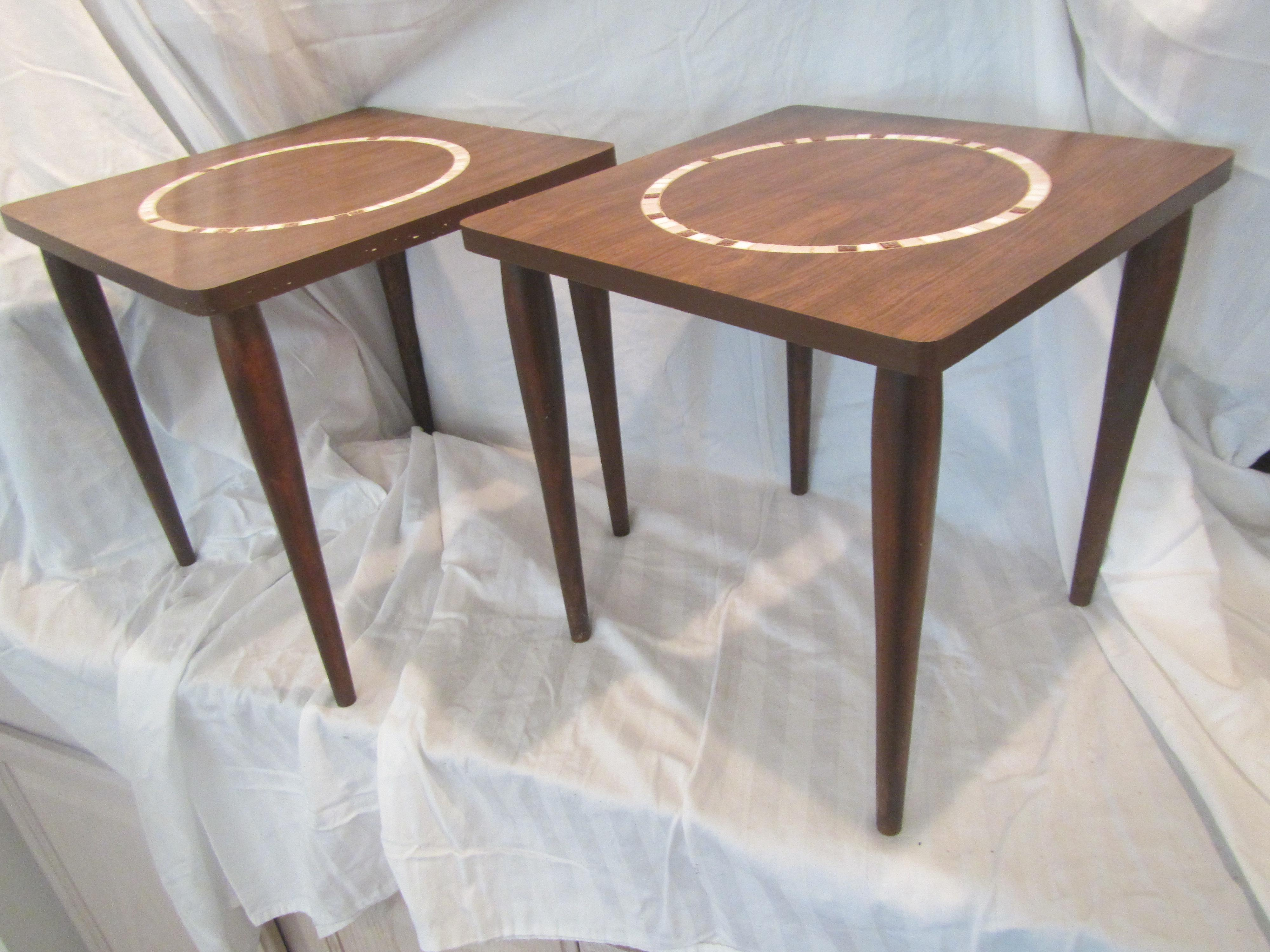 1960s Mid Century Modern Nesting Tile Mosaic Side Tables   A Pair For Sale    Image