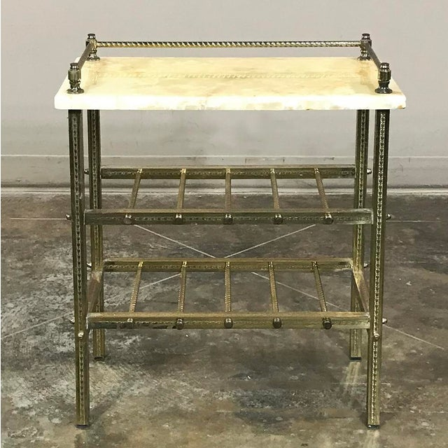 Mid-Century Brass & Marble Wine Serving Table For Sale - Image 11 of 11