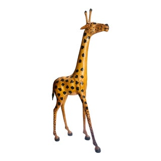 Vintage African Boho Chic Leather Wrapped Giraffe Model For Sale