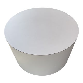 Postmodern White Laminate Small Coffee Table on Casters For Sale