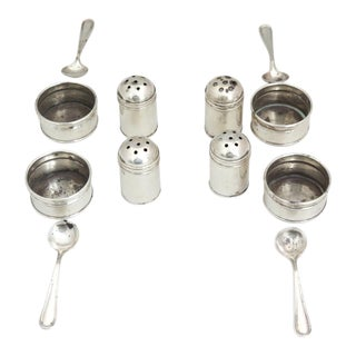 1920s 4 Individual Sterling Salt and Pepper Set With Spoons - Set of 12 For Sale