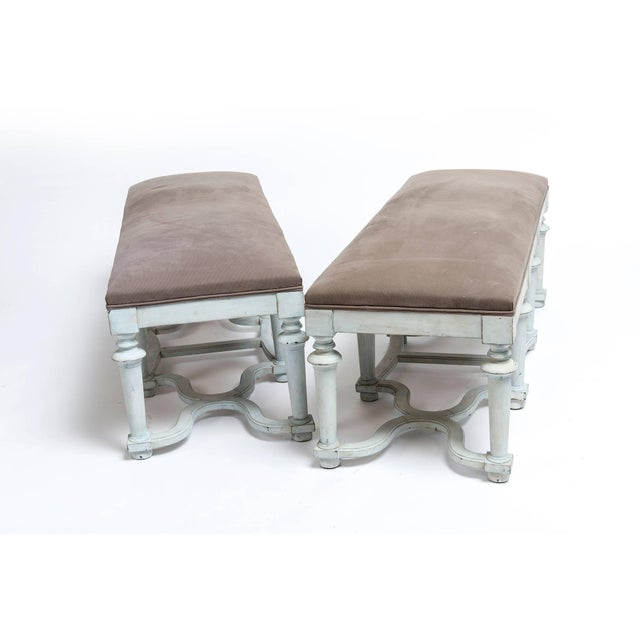 Pair of Light Blue or Green Painted Benches With Grey Cushions For Sale - Image 9 of 11