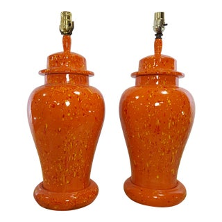Vintage 1970s Mid-Century Orange Drip Glaze Ginger Jar Lamps - a Pair