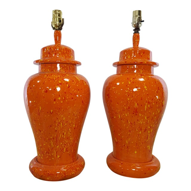 Vintage 1970s Mid-Century Orange Drip Glaze Ginger Jar Lamps - a Pair - Image 1 of 11