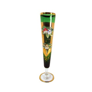 Vintage Czech - Bohemian Green Gold Gilt Glass Vase