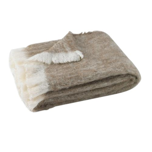 Driftwood Brushed Alpaca Throw For Sale