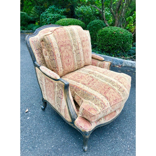 French Vintage French Bergere Chair With Paisley Upholstery For Sale - Image 3 of 13