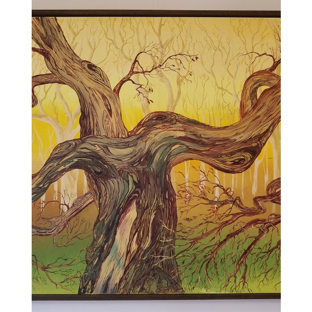 1965 Abstract Madrone Tree Oil Painting by Charles Radke, Framed For Sale - Image 4 of 6