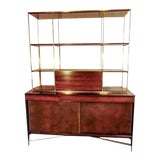 Image of Rare Paul McCobb Brass and Mahogany Bookcase With Leather Covered Doors For Sale