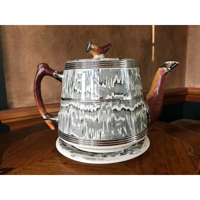 1930s Arthur Wood Silver Shield teapot - so unique and wonderful! Faux bois with antler and bone design components and...