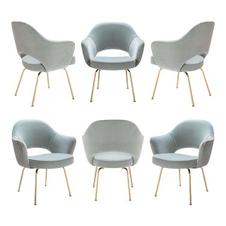 Saarinen Executive Arm Chairs in Celadon Velvet 24k Gold Edition - Set of 6