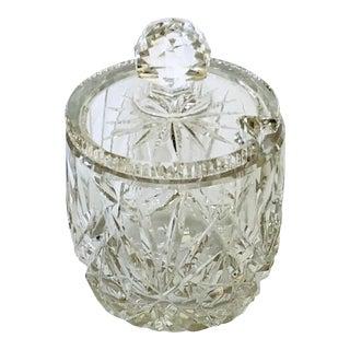 Heavy Cut Crystal Jam/Condiment Jar For Sale