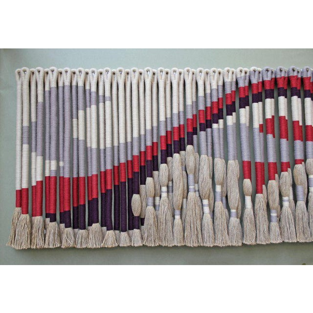 Fiber Privately Commissioned Jane Knight Fiber Art Installation 'Red and Gray Wave' For Sale - Image 7 of 8