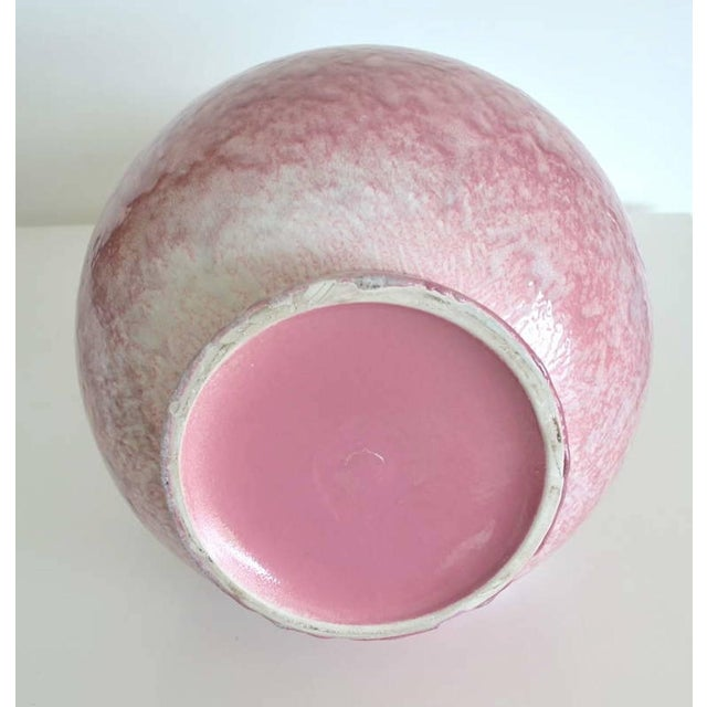 Mid-Century Long Neck Crackle Glazed Ceramic Vase For Sale In West Palm - Image 6 of 8