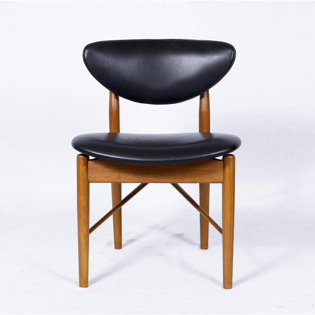 Set of six Finn Juhl NV 55 dining chairs designed in 1955 and produced by Niels Vodder. Chairs are signed Niels Vodder....