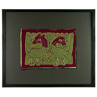 "Vintage Framed Panama Kuna Mola ""Two Ponies"" For Sale"
