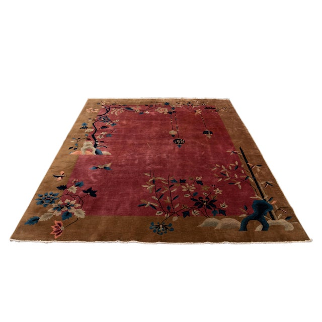 Early 20th Century Antique Art Deco Chinese Red Wool Rug For Sale - Image 12 of 13