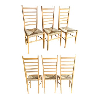 Italian Ladderback Rush Chairs in the Style of Gio Ponti, Set of 6 For Sale