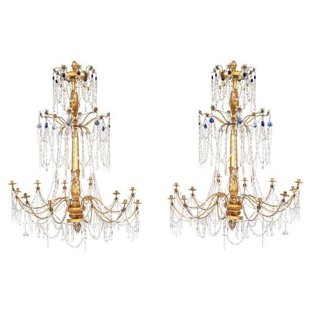 18th Century Italian Giltwood and Gilded Iron Chandeliers - a Pair For Sale - Image 12 of 12