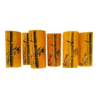1960s Bamboo Tumblers - Set of 6 For Sale