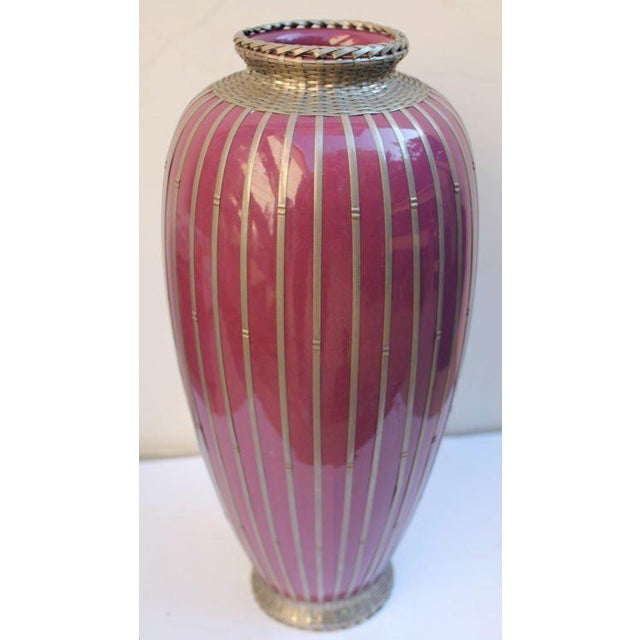 Japanese Silver Plate Overlay Basket Weave Pottery Vase For Sale In Palm Springs - Image 6 of 9