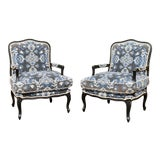 Image of Louis XV Custom Upholstered Down Filled Bergere Chairs - a Pair For Sale
