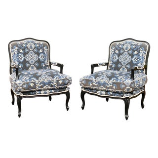 Louis XV Custom Upholstered Down Filled Bergere Chairs - a Pair For Sale