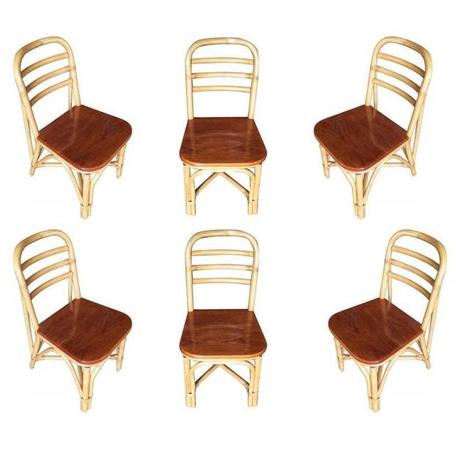 Brown Restored Mid Century Rattan Dining Side Chair With Mahogany Seat, Set of Six For Sale - Image 8 of 8