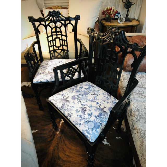Asian Faux Bamboo Pagoda Armchairs- A Pair For Sale - Image 3 of 12