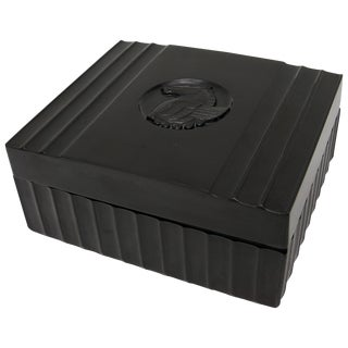 1920s Dunhill American Art Deco Black Bakelite Storage Box with Pegasus Motif For Sale